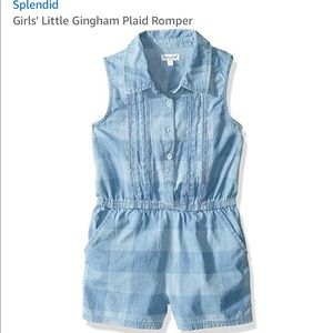 Little girls gingham plaid romper